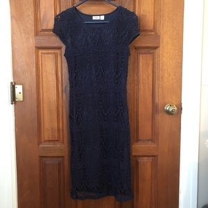 Navy Eyelet Dress Cap Sleeve Cato Small Overlay